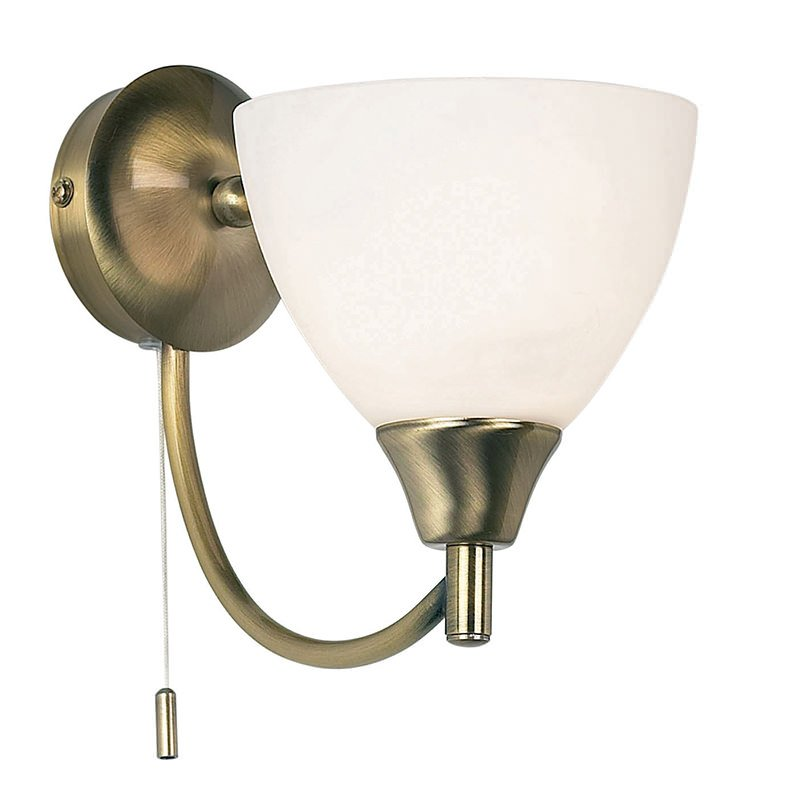 Endon-1805-1AN - Alton - Opal Glass with Antique Brass Wall Lamp
