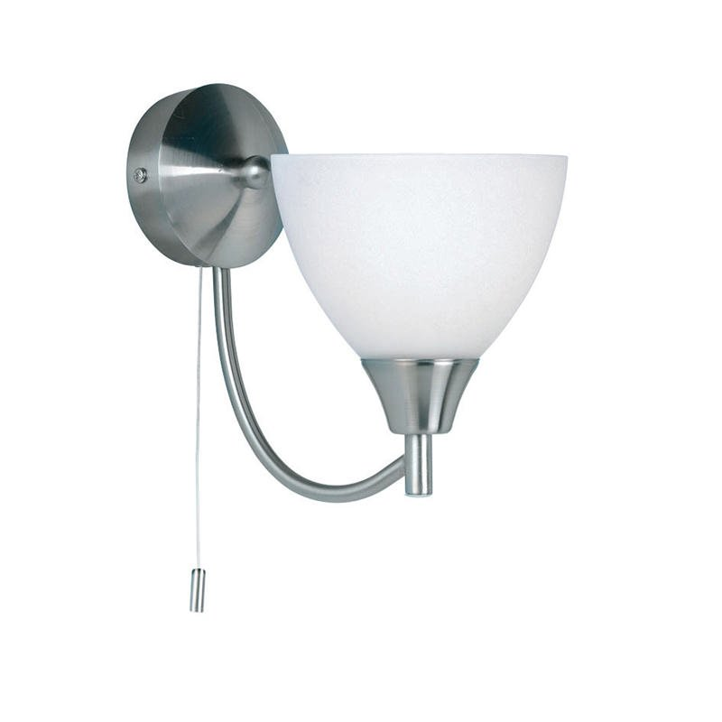 Endon-1805-1SC - Alton - Opal Glass with Satin Chrome Wall Lamp