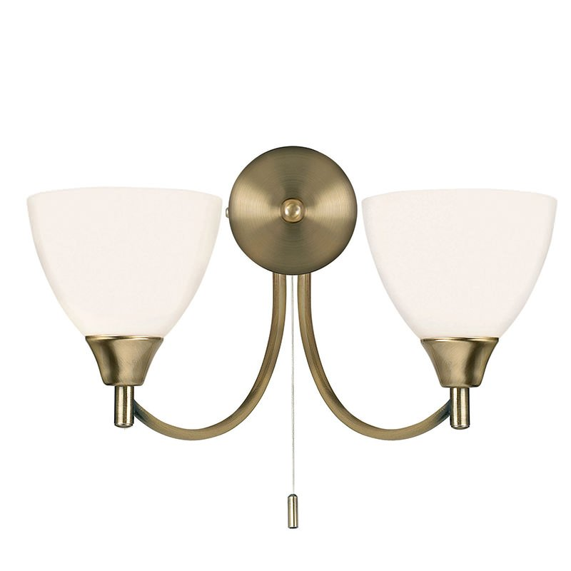 Endon-1805-2AN - Alton - Opal Glass with Antique Brass Twin Wall Lamp