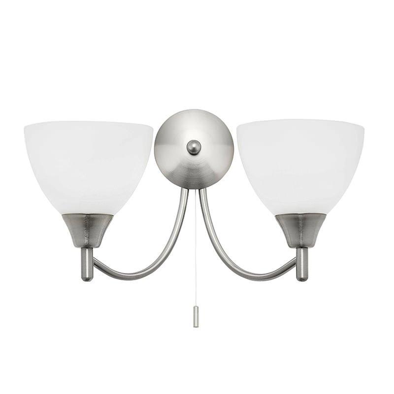 Endon-1805-2SC - Alton - Opal Glass with Satin Chrome Twin Wall Lamp