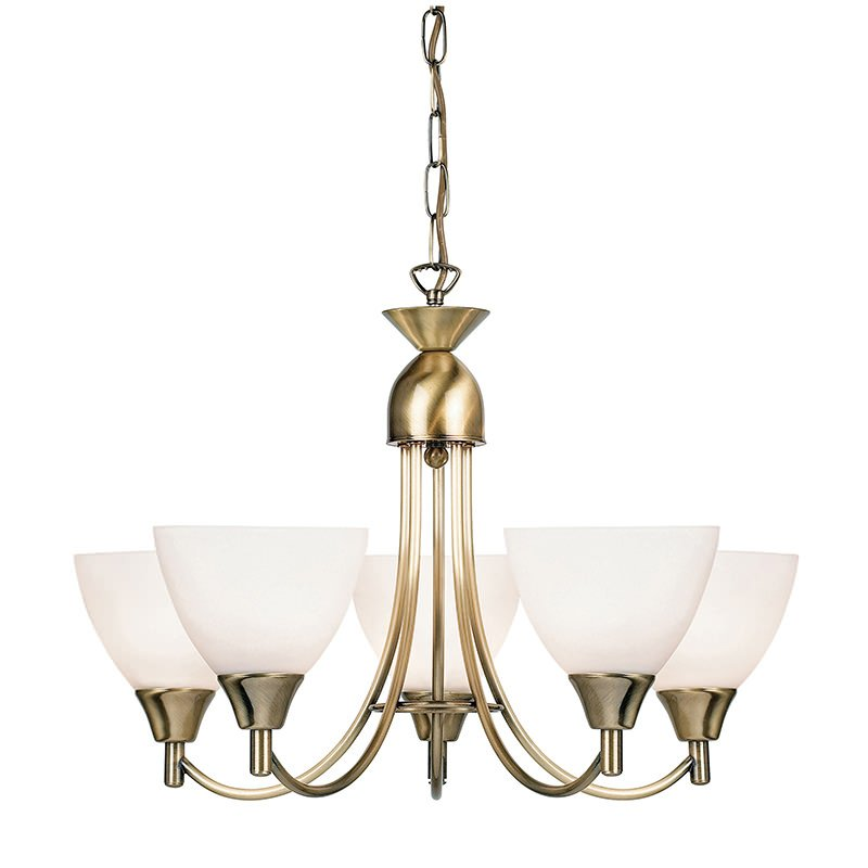 Endon-1805-5AN - Alton - Opal Glass with Antique Brass 5 Light Centre Fitting