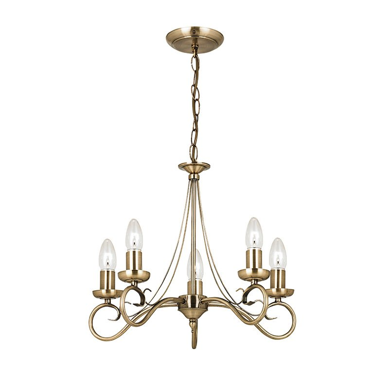 Endon-180-5AN - Trafford - Antique Brass 5 Light Centre Fitting