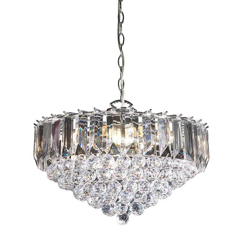 Endon-FARGO-18CH - Fargo - Chrome with Acrylic Detailing 6 Light Hanging Pendant