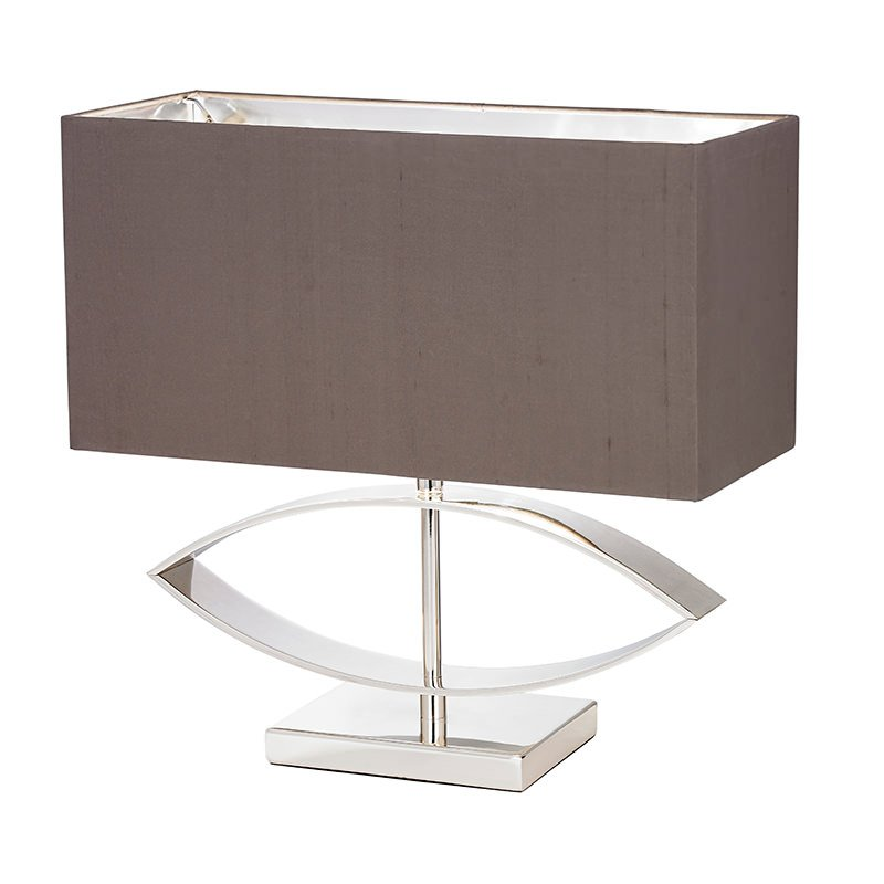 Endon-TRAMINI - Tramini - Taupe Faux Silk Shade with Polished Silver Table Lamp