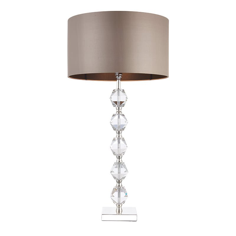Endon-VERDONE - Verdone - Taupe Silk Shade with Crystal Table Lamp
