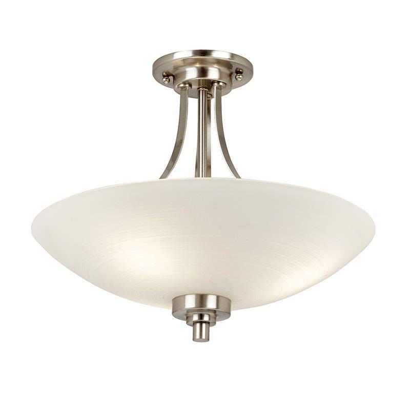 Endon-WELLES-3SC - Welles - White Glass with Satin Chrome 3 Light Semi-Flush