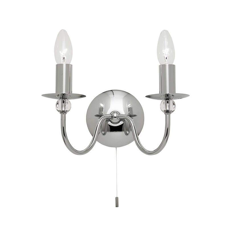 Endon-2013-2CH - Parkstone - Polished Chrome with Glass Twin Wall Lamp