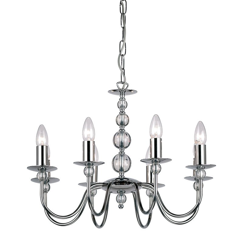 Endon-2013-8CH - Parkstone - Polished Chrome with Glass 8 Light Centre Fitting