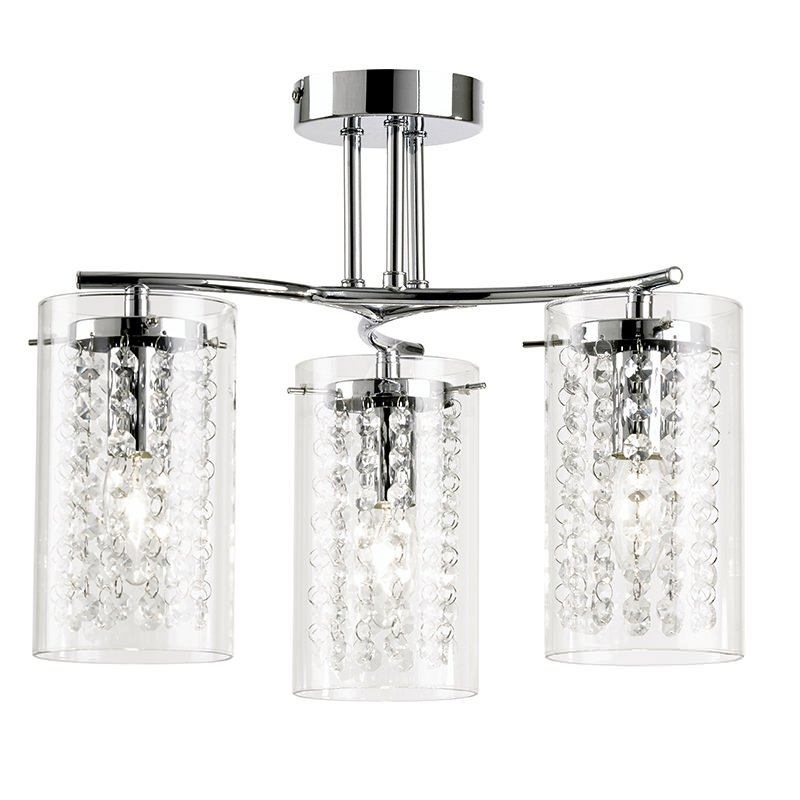 Endon-ALDA-3CH - Alda - Clear Glass with Crystal 3 Light Ceiling Lamp
