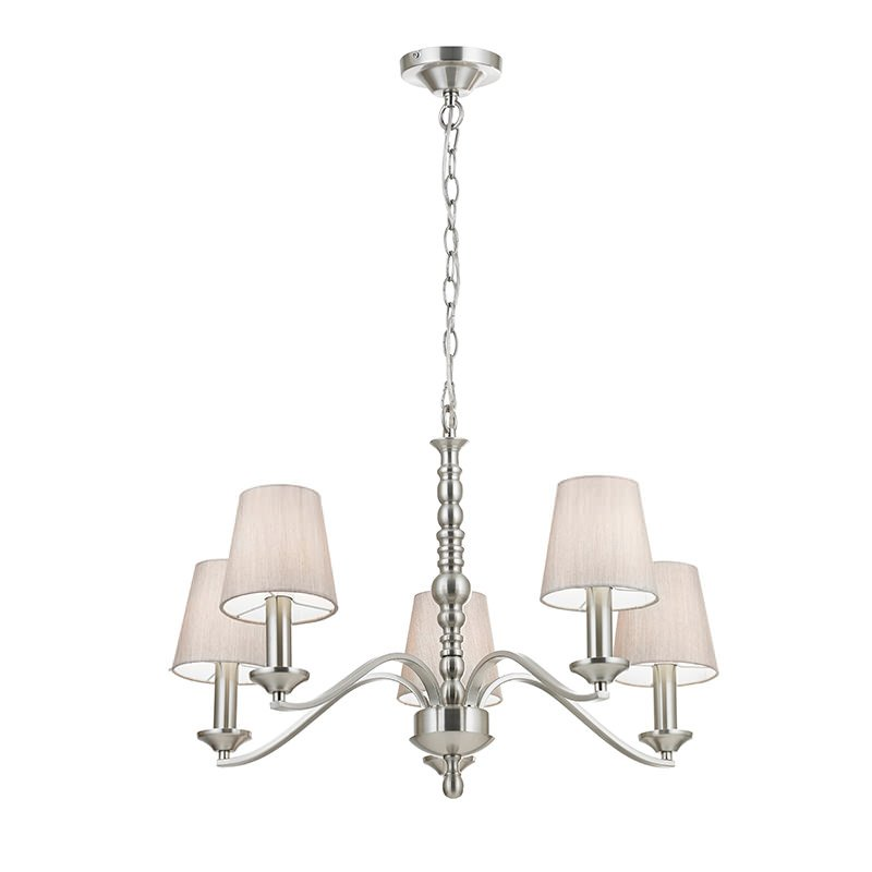 Endon-ASTAIRE-5SN - Astaire - Silver Shade with Satin Nickel 5 Light Centre Fitting