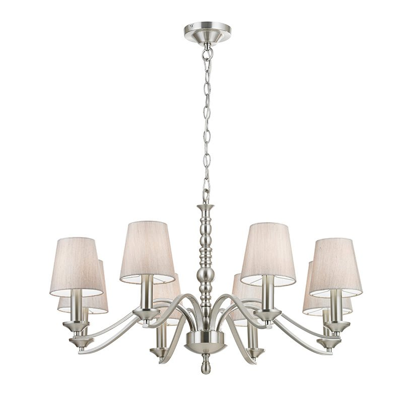 Endon-ASTAIRE-8SN - Astaire - Silver Shade with Satin Nickel 8 Light Centre Fitting