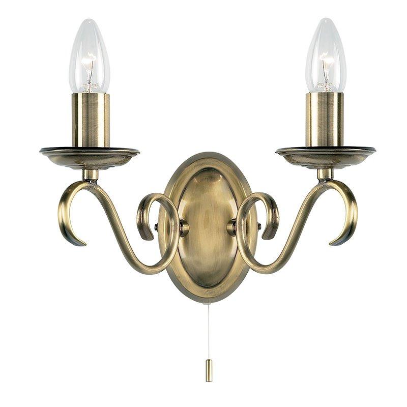 Endon-2030-2AN - Bernice - Antique Brass 2 Light Wall Lamp