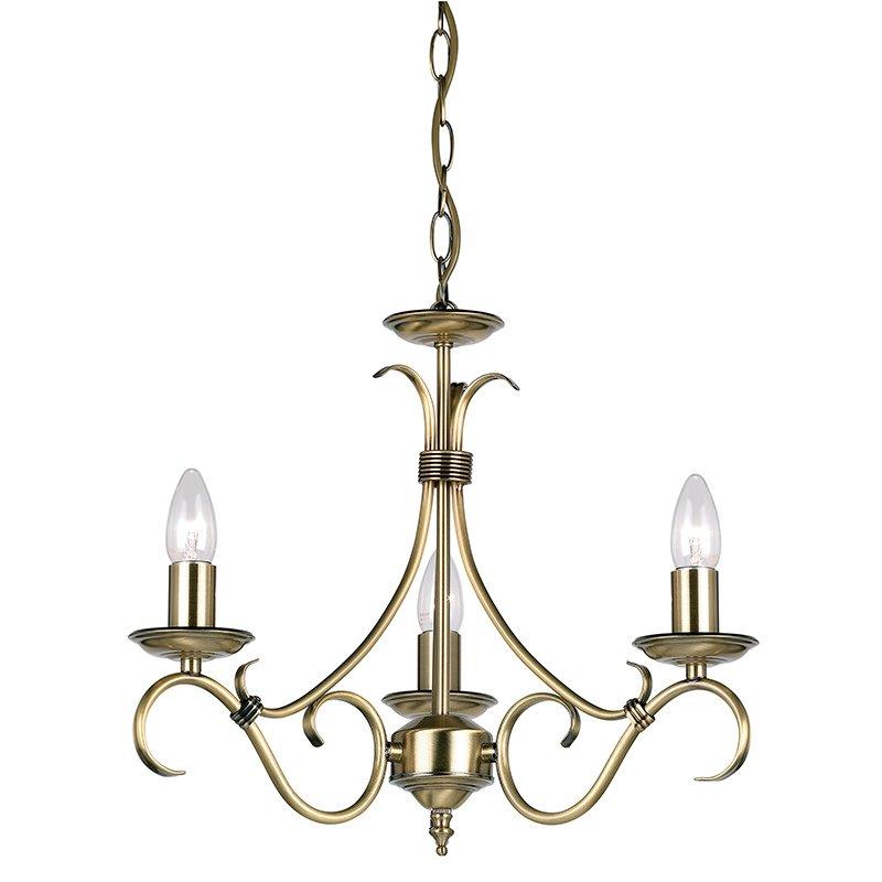 Endon-2030-3AN - Bernice - Antique Brass 3 Light Centre Fitting