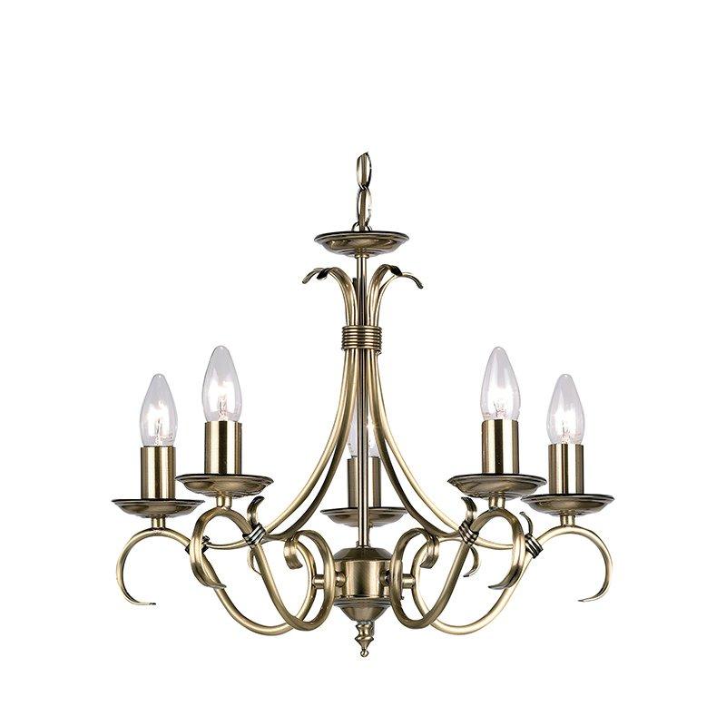 Endon-2030-5AN - Bernice - Antique Brass 5 Light Centre Fitting