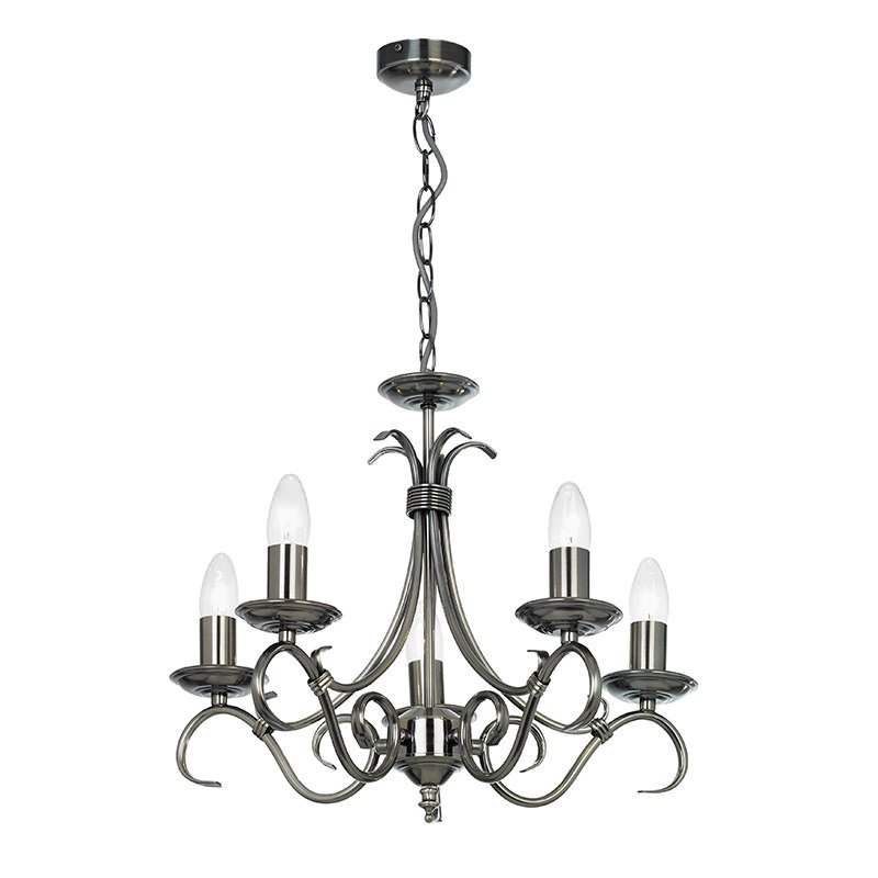 Endon-2030-5AS - Bernice - Antique Silver 5 Light Centre Fitting