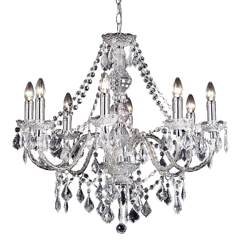 Endon-308-8CL - Clarence - Clear Acrylic with Chrome 8 light Chandelier