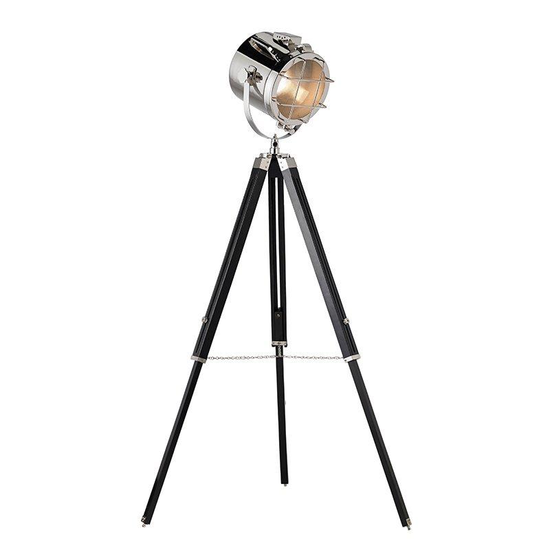 Endon-EH-NAUTICAL-FL - Nautical - Nickel and Wood Tripod Floor Lamp