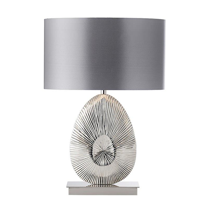 Endon-EH-SIMETO-TL - Simeto - Grey Shade with Nickel Table Lamp