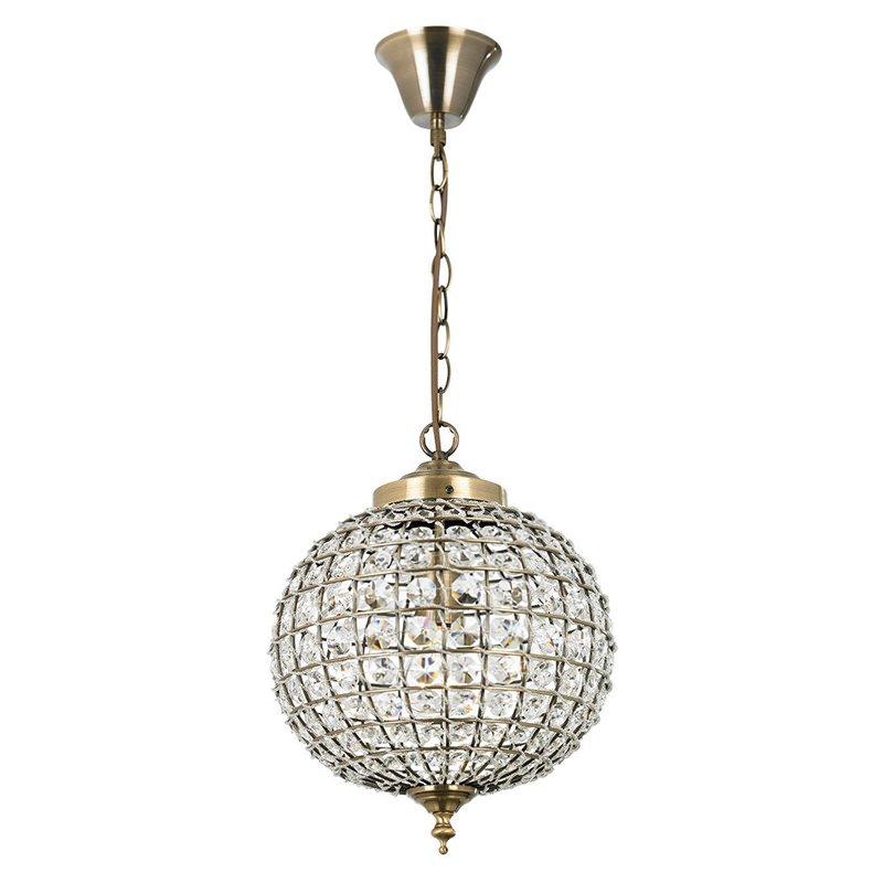 Endon-EH-TANARO-AB - Tanaro - Crystal and Antique Brass Globe Pendant
