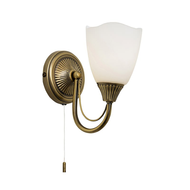 Endon-601-1AN - Haughton - White Glass with Antique Brass Single Wall Lamp