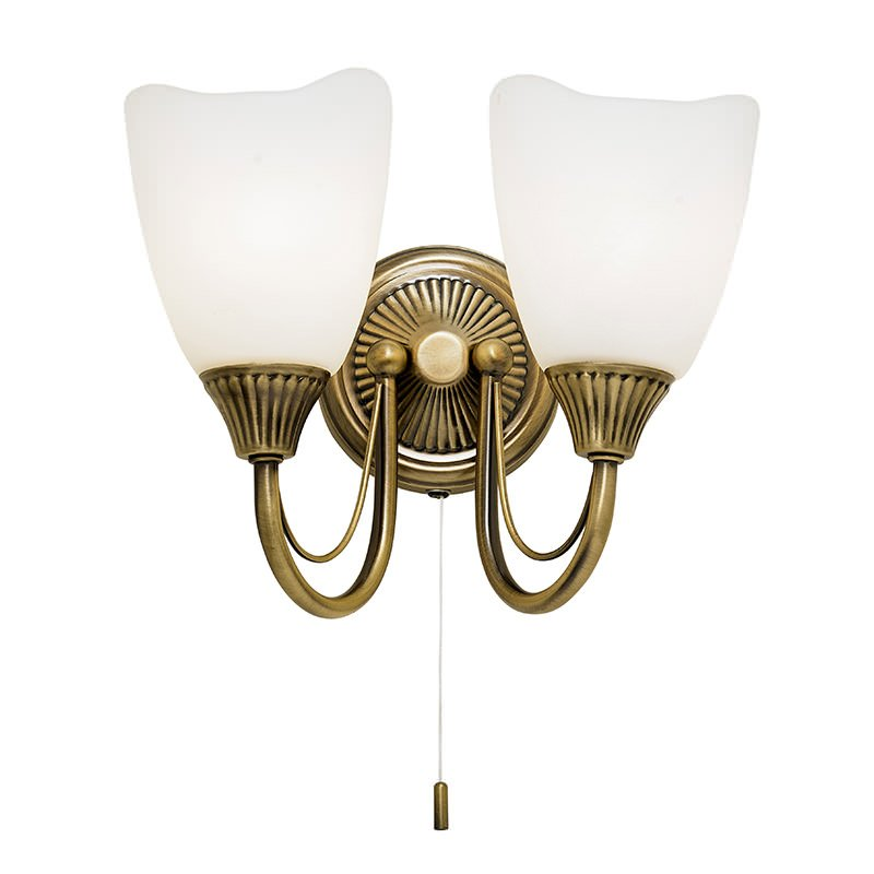 Endon-601-2AN - Haughton - White Glass with Antique Brass Twin Wall Lamp