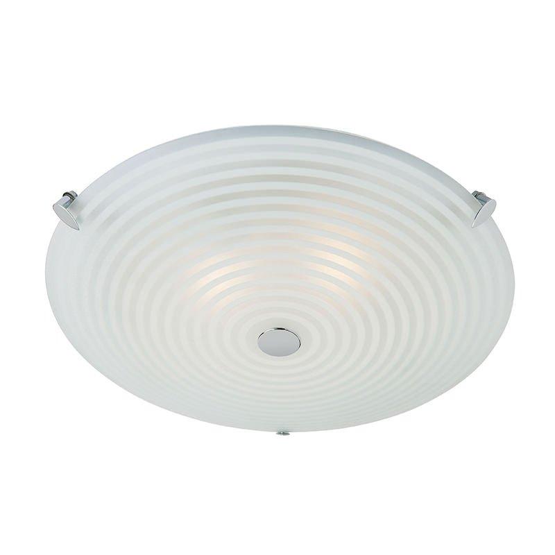 Endon-633-32 - Roundel - Clear & White Glass 2 Light Ceiling Lamp