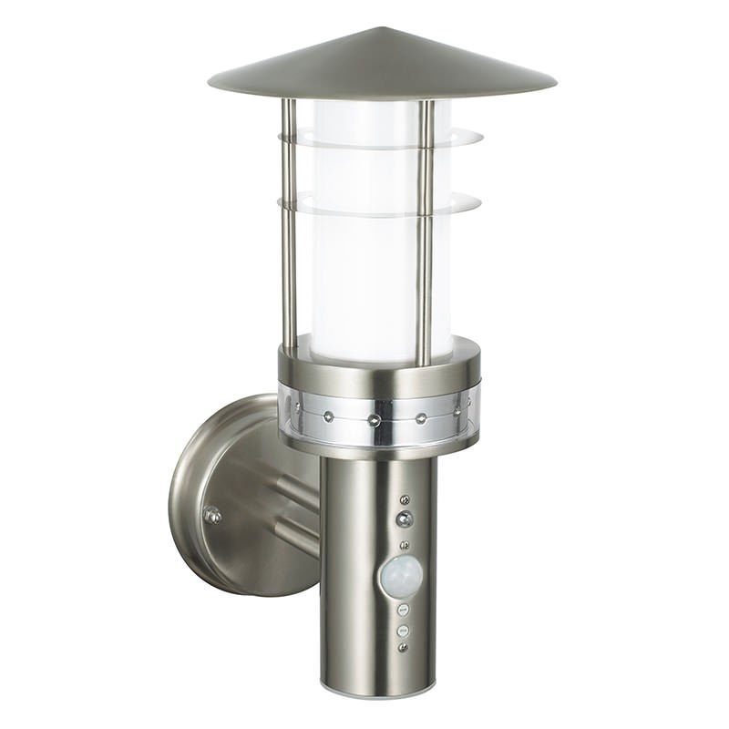 Saxby-13924 - Pagoda - Brushed Stainless Steel Uplight Sensor Wall Lamp