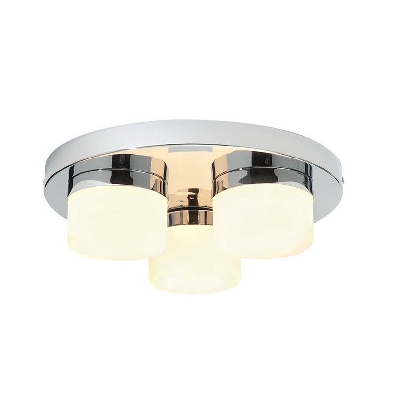Saxby-34200 - Pure - Bathroom Chrome & Opal Glass 3 Light Flush