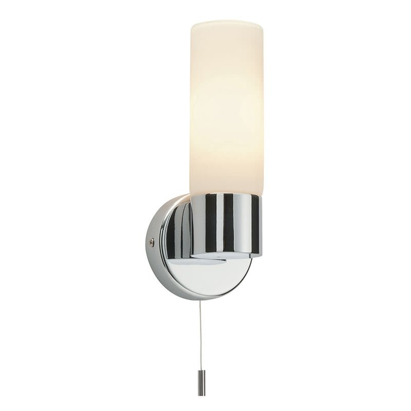 Saxby-34483 - Pure - Bathroom Chrome with White Glass Wall Lamp