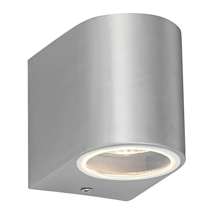 Saxby-43655 - Doron - Brushed Alloy with Glass Up & Down Small Wall Lamp