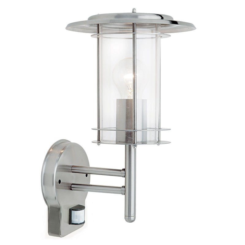 Saxby-4479782 - York - Outdoor PIR Polished Stainless Steel Wall Lamp