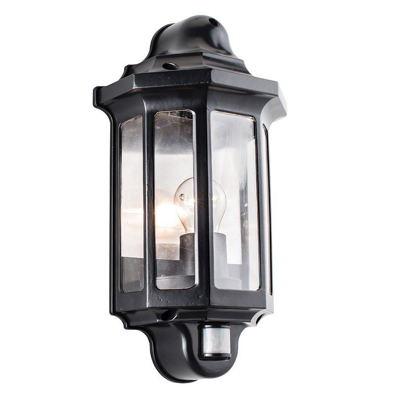 Saxby-1818PIR - Traditional - Outdoor Satin Black Half Lantern PIR Wall Lamp
