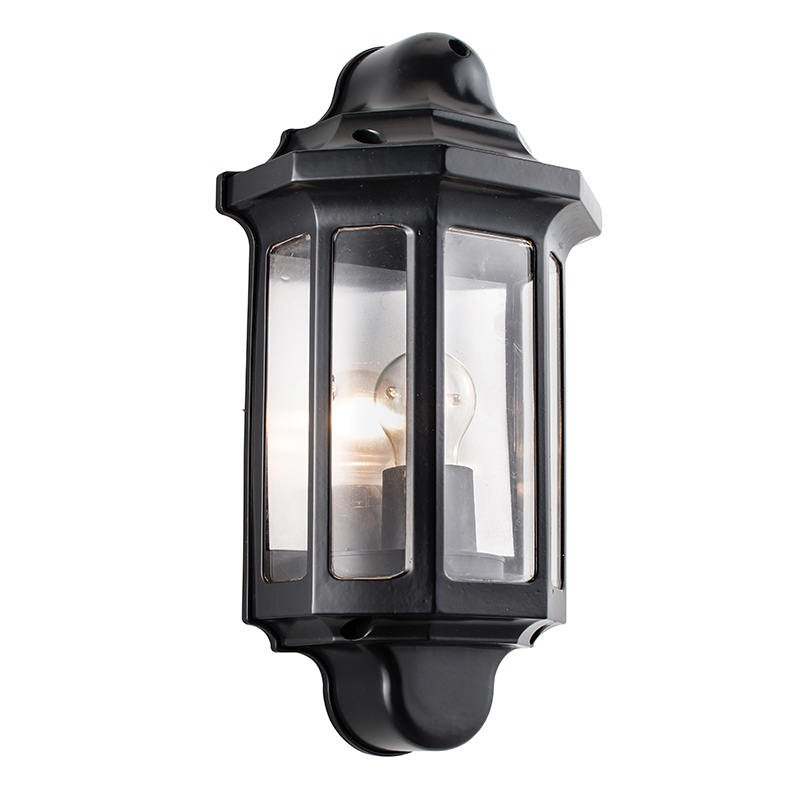 Saxby-1818S - Traditional - Outdoor Satin Black Half Lantern Wall Lamp