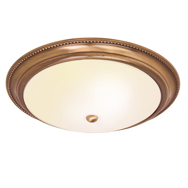 Endon-91121 - Atlas - Antique Brass with Frosted Glass Flush