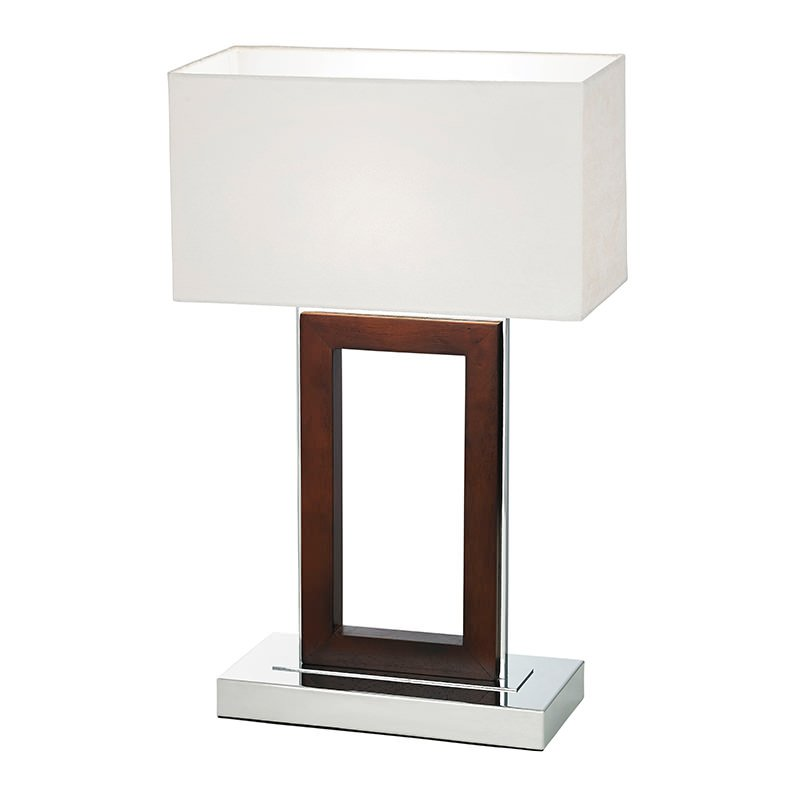 Endon-0195-DW - Portal - Cream Fabric with Wood & Chrome Table Lamp