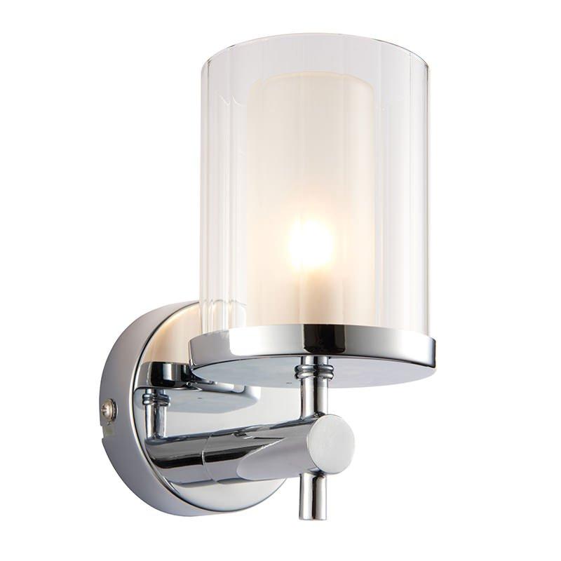 Endon-51885 - Britton - Bathroom Chrome with Clear Rippled Glass Wall Lamp