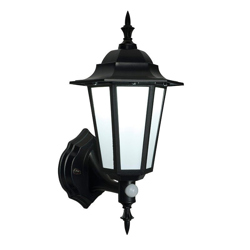 Saxby-54555 - Evesham - LED Black & Frosted PIR Wall Lamp