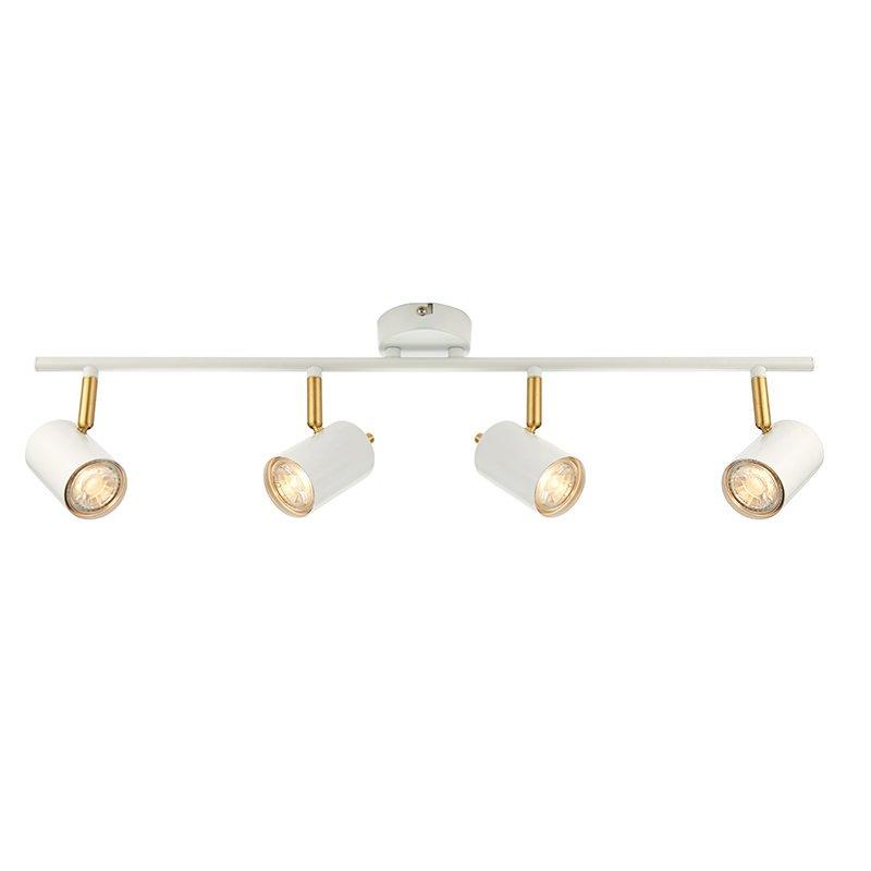 Endon-59933 - Gull - LED Matt White & Satin Gold 4 Light Bar Spotlights