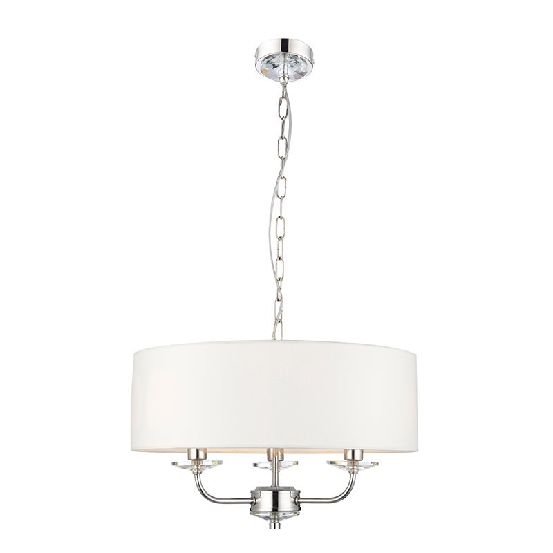 Endon-60129 - Nixon - Vintage White & Nickel with Crystal 3 Light Pendant