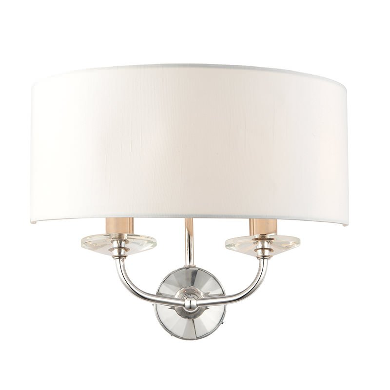 Endon-60180 - Nixon - Vintage White & Nickel with Crystal Twin Wall Lamp