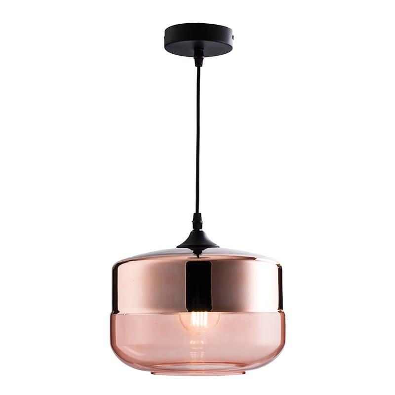Endon-60182 - Willis - Cognac Tinted & Copper Glass Single Hanging Pendant