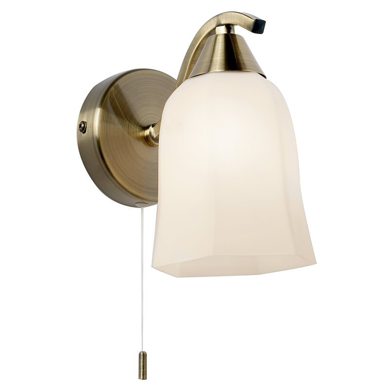 Endon-96971-WBAB - Alonso - Antique Brass and Opal Glass Wall Lamp
