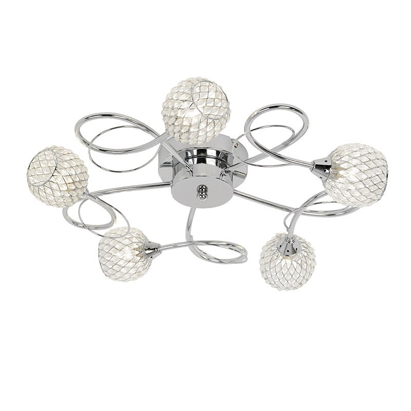 Endon-AHERNE-5CH - Aherne - Decorative Glass with Chrome 5 Light Centre Fitting