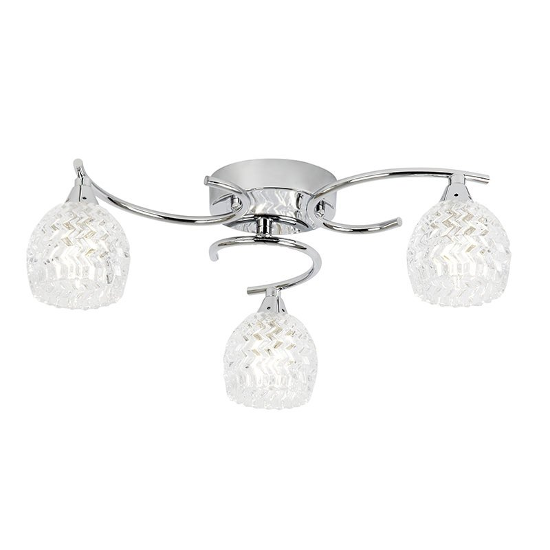 Endon-BOYER-3CH - Boyer - Chrome With Cut Clear Glass 3 Light Ceiling Lamp
