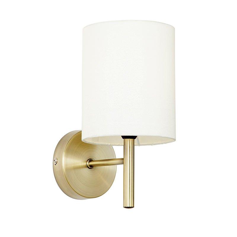 Endon-BRIO-1WBAB - Brio - Antique Brass with Cream Shade Wall Lamp