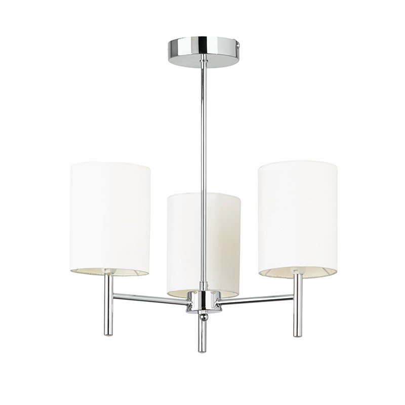 Endon-BRIO-3CH - Brio - Polished Chrome with White Shade 3 Light Ceiling Lamp