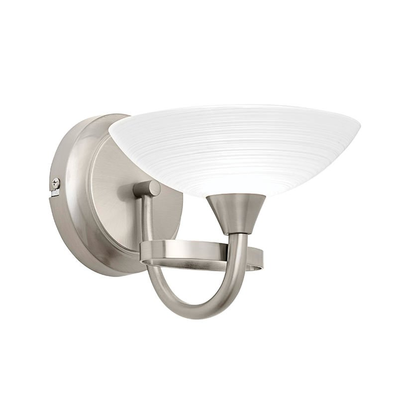 Endon-CAGNEY-1WBSC - Cagney - Satin Chrome & White Glass Single Wall Lamp