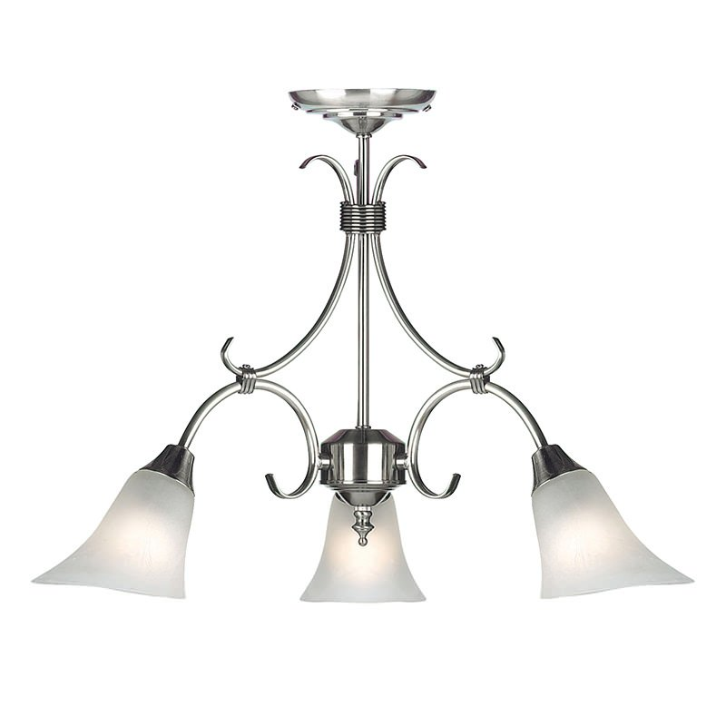 Endon-144-3AS - Hardwick - Alabaster Glass with Antique Silver 3 Light Pendant
