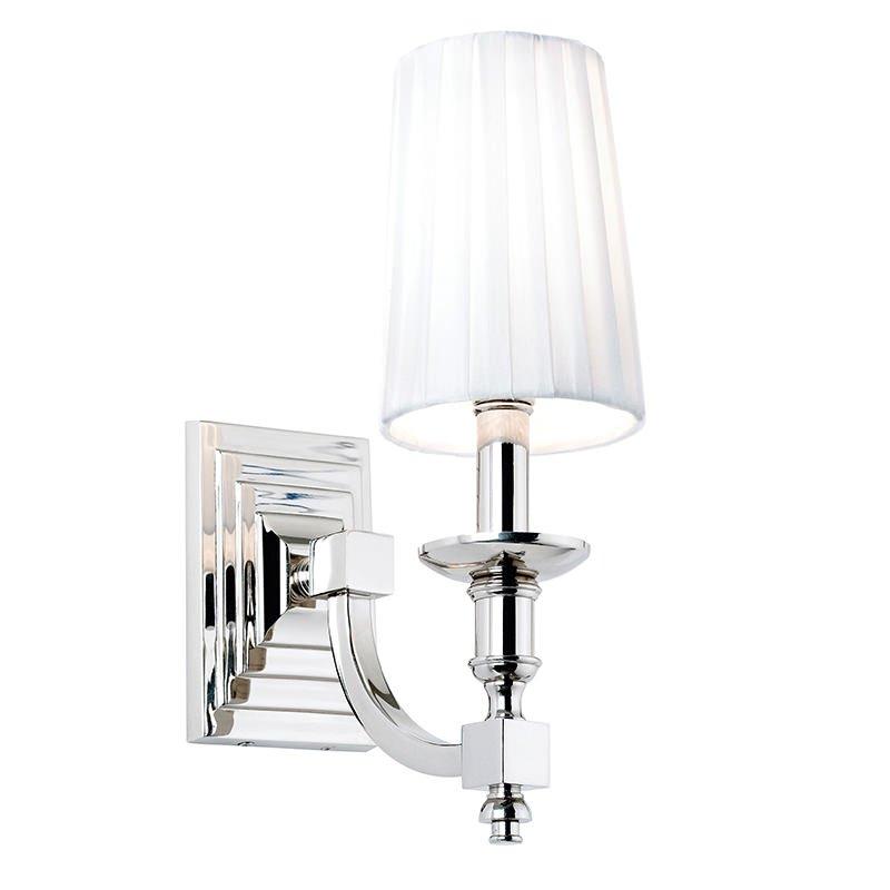 Endon-DOMINA-1WBNI - Domina - Polish Nickel with White Shade Single Wall Lamp