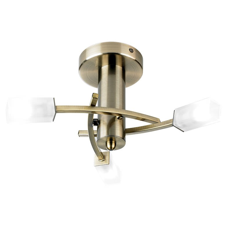 Endon-146-3AB - Havana - Frosted Glass with Antique Brass 3 Light Ceiling Lamp